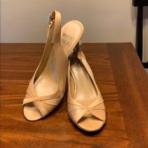 Gold fabric dress heels